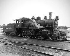 Vintage Arcade Attica Steam Engine Train Black & White by JWPhoto, $31.00