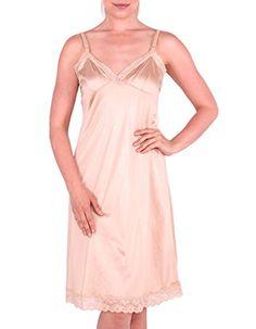 ff9f4b3f55c Women s Stretch Lace Full Slip Sleepwear Dress Liner Extender Lingerie  Lounge Dress Nightgown. at Amazon Women s Clothing store