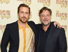 "Russell Crowe Photos - Actors Ryan Gosling and Russell Crowe attend ""The Nice Guys"" New York Screening at Metrograph on May 12, 2016 in New York City. - 'The Nice Guys' New York Screening"