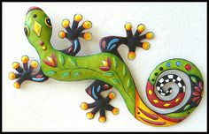 Painted Metal Gecko Wall Hanging Whimsical Gecko by TropicAccents