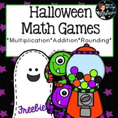 October is coming and so is Halloween! Fun and easy to use Freebie! Fourth Grade Math, Second Grade Math, Grade 3, Math Games, Math Activities, Math Resources, Halloween Math, Halloween Season, Halloween Activities