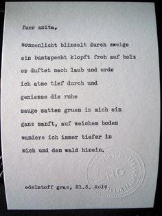 Sag mir ein Wort und ich schreib dir ein Gedicht. Wortfachgeschaeft @ Designmesse Edelstoff in Graz. Inspirationswort: Wald.