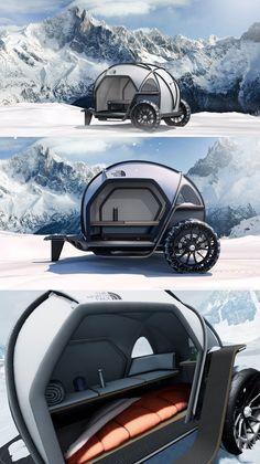 BMW, The North Face - FUTURELIGHT Camper - Design Inspiration - Industrial design / product design blog Small Camper Trailers, Diy Camper Trailer, Small Campers, Mini Camper, Off Road Camper, Camping Glamping, Outdoor Camping, Lightweight Campers, Kangoo Camper