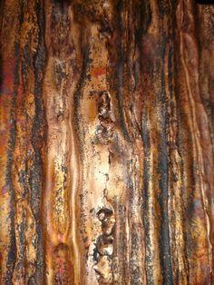 Copper plumbing pipes metamorphisized into copper tree bark.