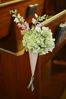 Church flowers imagine this in the dollie cone on the back of a chair with ribbon Pew Flowers, Church Flowers, Wedding Flowers, Silk Flowers, Pew Decorations, Wedding Aisle Decorations, Church Pew Wedding, Wedding Ceremony, Black Silver Wedding