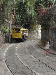 Rio de Janeiro, Brazil. Hanging on to the bonde.