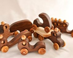 Wooden Toy Trucks and Wooden Toy Cars Wooden Toys Organic Walnut Set of 6