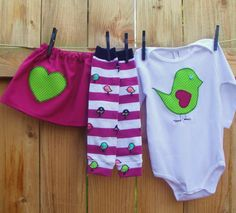 3pcLOVE+BIRD+fuchsia+and+limeonesie+skirt+by+mamarunswithscissors,+$45.00