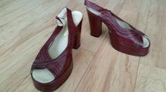 Vintage 70's Italian Leather Chunky Platform Peeptoe Dress Shoes Sz 7 Mod Diva!! #Seyla #Heels