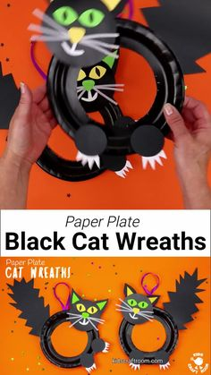 This Halloween Black Cat Wreath Craft is so cool and easy to make! Such a great Halloween craft for kids of all ages and a fun way to decorate the home or classroom. We just love the black cat crafts bushy tails and feisty claws! #kidscraftroom #kidscrafts #halloween #halloweencrafts #kidscrafts #paperplatecrafts #blackcat #halloweenwreaths #halloweendecorations #witchescat #kidsactivities Halloween Arts And Crafts, Halloween Crafts For Toddlers, Halloween Activities, Toddler Crafts, Diy Crafts For Kids, Activities For Kids, Halloween Halloween, Halloween College, Halloween Couples