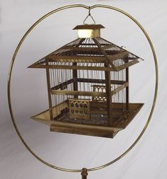 Vintage Antique Bird Cage And Stand White Painted Metal