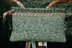 velvet ribbon clutch bag with cotton and silk ribbon fringe #crochet_bag #green #crochet_ribbon