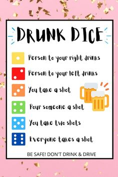 Drunk Dice Drinking Game Adult Party Games