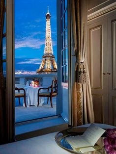 View of the Eiffel tower from the terrace of Shangri-La Hotel, Paris