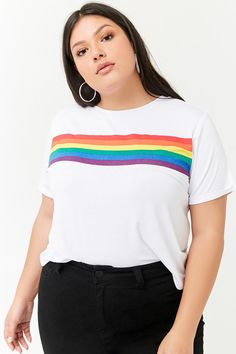 Product Name:Plus Size Rainbow Graphic Tee, Category:plus_size-main, Price:12.9