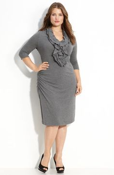 Kenneth Cole New York Ruffled Sweater Dress ....side ruching to soften the fitted silhouette $199.50