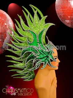 CHARISMATICO Two-Toned glittery green Drag Queen Mohawk headdress with rhinestone accents