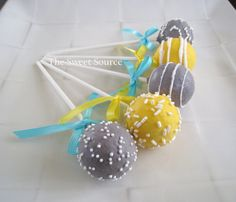 Yellow and Gray Cake Pops for OC Reception
