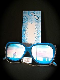 REFLECTION IN CYCLING GLASSES Shaped Card Kit on Craftsuprint designed by Janet Briggs - made by Cynthia Massey