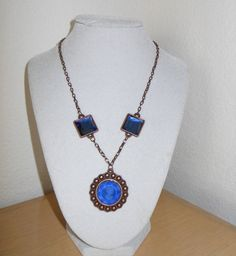 Blue Glass Faceted Cameo with by CreationsbyMaryEllen on Etsy, $14.99