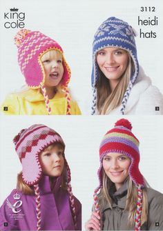 370a27cc06d26 King Cole Childrens   Adults Knitted Winter Hats Double Knitting Pattern -  3112