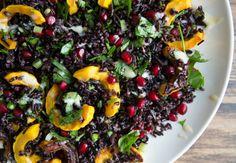 Middle Eastern Inspired Black Rice Salad, via Eat Boutique! Pumpkin, pomegranate, black rice, wild rice, honey tahini dressing.