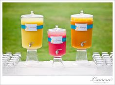 Self-serve juice bars are a great way to keep guests cool and refreshed at outdoor weddings.  I designed and assembled these labels and the beautiful French glass beverage dispensers were rented from Event Essentials.