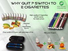 Go for Electronic cigarettes.   shop here: http://go4ecig.com/  #electroniccigarette #ecig #Esmoking #Ejuice #smokepipes #Eliquid #Ecigkit