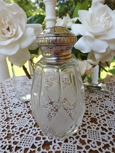 {Antique French 19th Century 950/1000 Silver & Crystal Muffineer, Sugar Shaker, Caster Sifter}