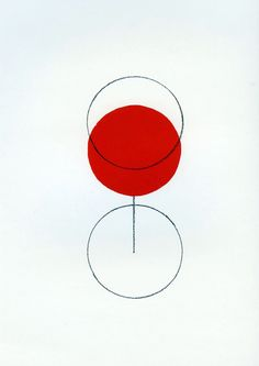 Alan Fletcher (he loves simple and colourful, especially his signature red circle) This is such a smart piece of design - simple but goes beyond one's imagination. [Uyen N.] 2 blank circles, one red circle, and a straight line, create the illusion of wha Art And Illustration, Graphic Design Illustration, Graphic Art, Creative Illustration, Graphisches Design, Wine Design, Circle Design, Shape Design, Logo Design