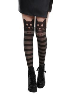 Black faux thigh high tights with a kitty stripe design.