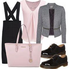 Per un ritorno alla grande in ufficio, outfit dai toni tenui. Gonna tubino stile salopette molto aderente ma sdrammatizzata da un paio di scarpe stringate che danno un tocco 'collegiale', camicetta morbida rosa.