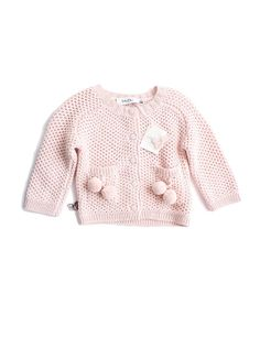 Dior Kids Baby Dior pink knit cardi with pom pom detail Knitting For Kids, Baby Knitting, Crochet Baby, Knitting Ideas, Baby Dior, Black Kids Fashion, Young Fashion, Fashion Mode, Girl Fashion