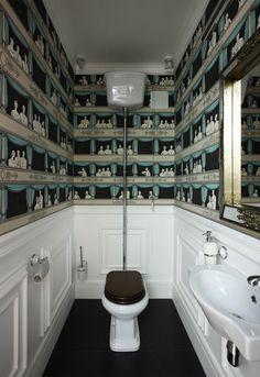 110 square meters apartment with retro and vintage interior Bathroom Artwork, Bathroom Pictures, Master Bathroom, Budget Bathroom, Bathroom Interior, Bathroom Remodeling, Bathroom Ideas, Bathroom Stuff, Fornasetti Wallpaper