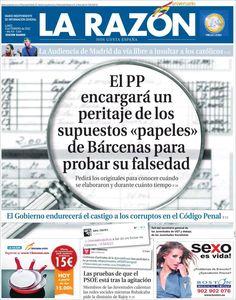 Los Titulares y Portadas de Noticias Destacadas Españolas del 4 de Febrero de 2013 del Diario La Razón ¿Que le parecio esta Portada de este Diario Español?