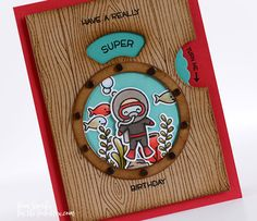 LF Simply Sublime,Reveal Wheel Sentiments stamp set for the words and Porthole Frames Lawn cuts for the images. Some ⅛ inch brads fit the perimeter of the porthole perfectly!