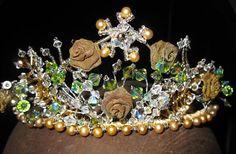 ROSE ADAGIO Tiara Crystals Pearls Vintage Beads Crown.