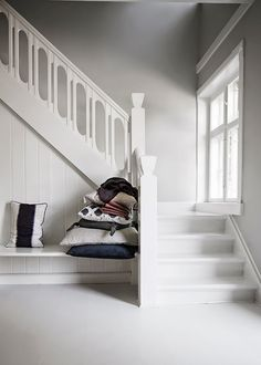 A Danish take on Autumn 2013 My Scandinavian Home Basement Stairs, House Stairs, White Stairs, Beautiful Stairs, Turbulence Deco, Wooden Staircases, Timber Staircase, Interior Stairs, Staircase Design