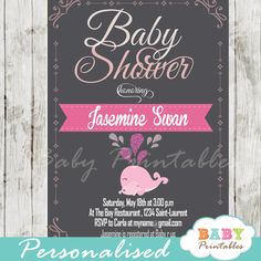 Printable pink whale baby shower chalkboard invitation for girls. This adorable personalized baby shower invite card features the sweetest mother and baby whale in pink with a touch of glitter against a black charcoal background. #babyprintables