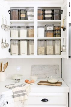 Baking Cupboard Organization by TIDBITS What's behind closed doors is not always pretty and functional - but it sure can be! I hope you'll be inspired by my new baking cupboard organization, enjoy hearing about my process and take advantage of my free Cupboard Organisation Kitchen, Home Organisation, Diy Kitchen Storage, Organized Kitchen, Makeup Organization, Baking Organization, Bedroom Organization, Organizing Tips, Organising