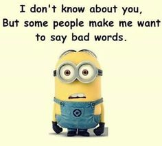 I don't know about you, but some people make me want to say bad words. - minion
