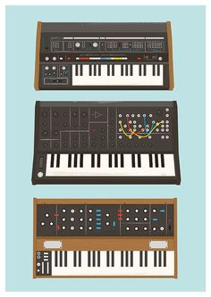 Vintage synthesizer music poster print