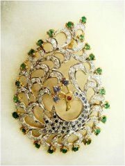 """""""Nairna""""..only $1,800 or P79,200!! 2.04ct Diamond,Ruby,Sapphire & Emerald Peacock Brooch! Imported, world-class quality, not pre-owned, not pawned, not stolen. We deliver worldwide <3"""