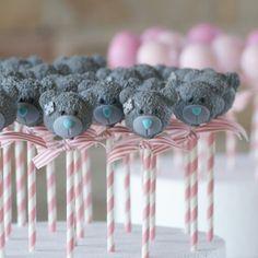 Tatty Teddy cake pops #cakepops #teddybear #teddycakepops Cakepops, Mini Mouse Cake Pops, Fondant Cakes, Cupcake Cakes, No Bake Cake Pops, Cake Pop Designs, Teddy Bear Cakes, Bolo Cake, Baby Shower Cake Pops