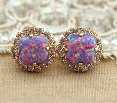 Purple violet  Opal Stud earrings Swarovski Crystal by iloniti, $45.00