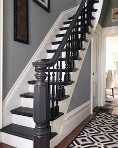 55 Ideas Basement Stairs Diy Staircase Remodel Stairways For 2019 Modern Staircase, Staircase Design, Staircase Ideas, Carpet Staircase, White Staircase, Traditional Staircase, Stairway Paint Ideas, Stairs And Hallway Ideas, Stairs Tiles Design