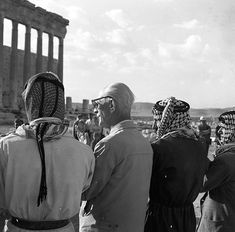 Kazimierz Michałowski, director of excavations at the Camp of Diocletian, with his workers at the Temple of Bel, Photo: T. © Polish Mission to Palmyra / Polish Centre of Mediterranean Archaeology Palmyra, Research Institute, Archaeology, Temple, Centre, Polish, Camping, Campsite, Vitreous Enamel