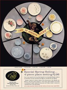 Royalon Melmac Dinnerware ad, 1958 My mom still has the dinner plates with the green ivy ring on the outside.  I have some newer melmac and still love it!