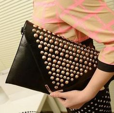 I discovered this 2013 New Fashion Studded Punk Purses and Handbags Rhinestone  Envelope Clutch Evening Bags on Keep. View it now.