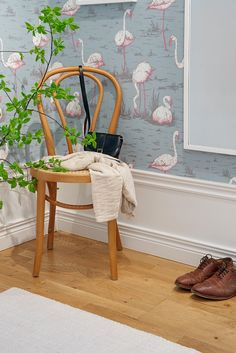 Compact apartment in Stockholm displaying functional design Colorful Wallpaper, Of Wallpaper, Cole And Son Wallpaper, Baseboards, Wishbone Chair, Textures Patterns, Architecture Design, Sweet Home, Blog
